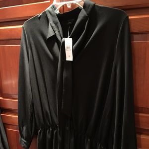 Ann Taylor Tops - Ann Taylor Black Tie Neck Blouse Button NWT M